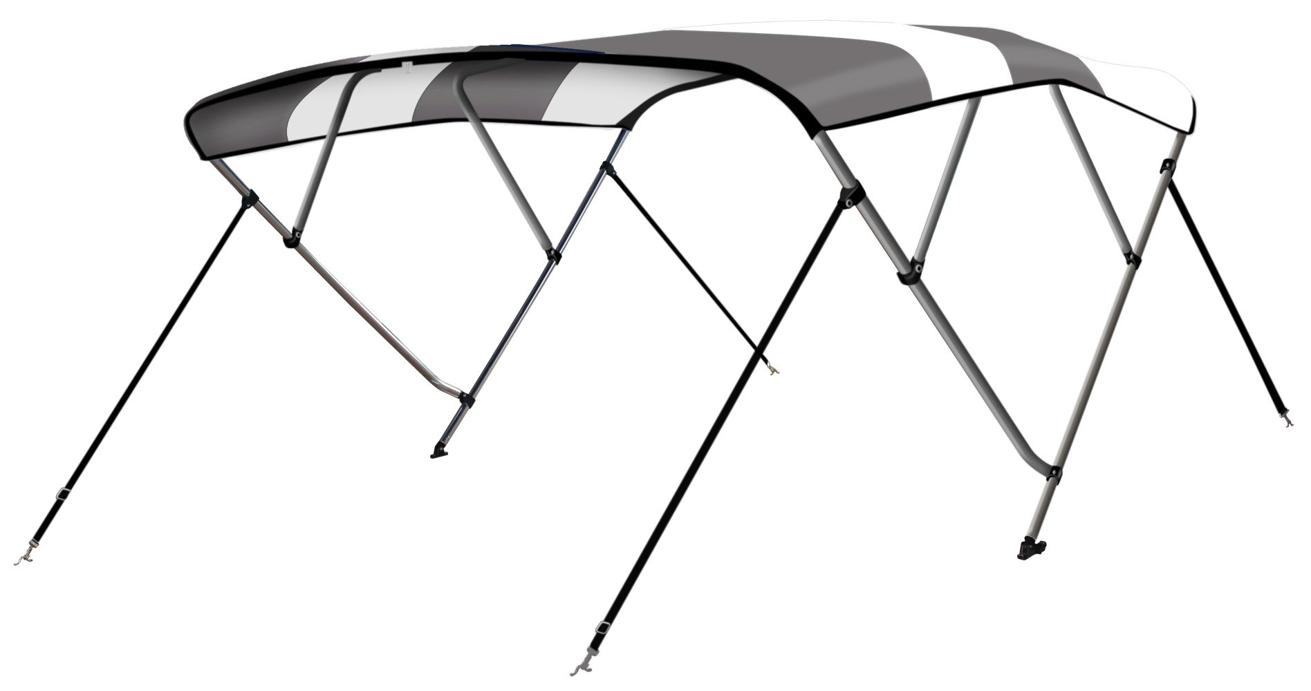 Leader Accessories Two Tone Grey 4 Bow 8'L x 54'' H x 85''-90'' W Bimini Top Boat Cover 4 Straps for Front and Rear Includes All Mounting Hardwares 1 Inch Aluminum Frame with Straps and Storage Boot by Leader Accessories