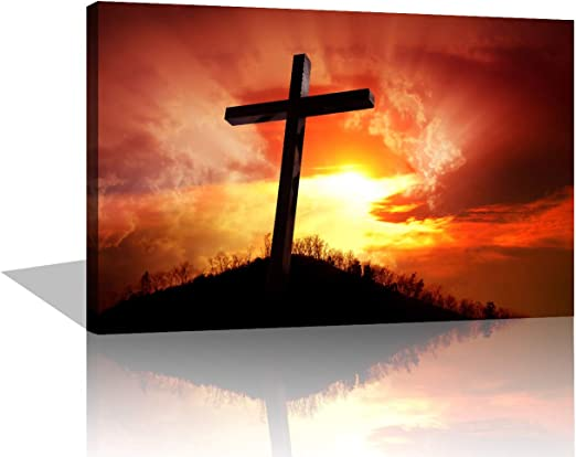 Cross on Mount Strymba Canvas Wall Art Hanging Paintings Modern Artwork Abstract Picture Prints Home Decoration Gift Unique Designed Framed 4 Panel