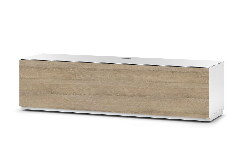 Sonorous STA 160F-WHT-MOL-BW hängende TV-Lowboard mit Sockel, weißer Korpus, obere Fläche, gehärtetem Weißglas und Klapptür in Holzdekor Molina