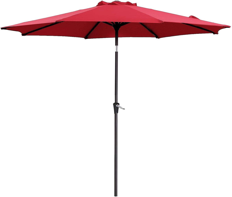 SONGMICS 9 Feet Patio Umbrella, Outdoor Table Umbrella, Sun Shade, Octagonal Polyester Canopy, with Push Button Tilt and Crank Mechanism – for Gardens, Balcony and Terrace Red UGPU09RDV1