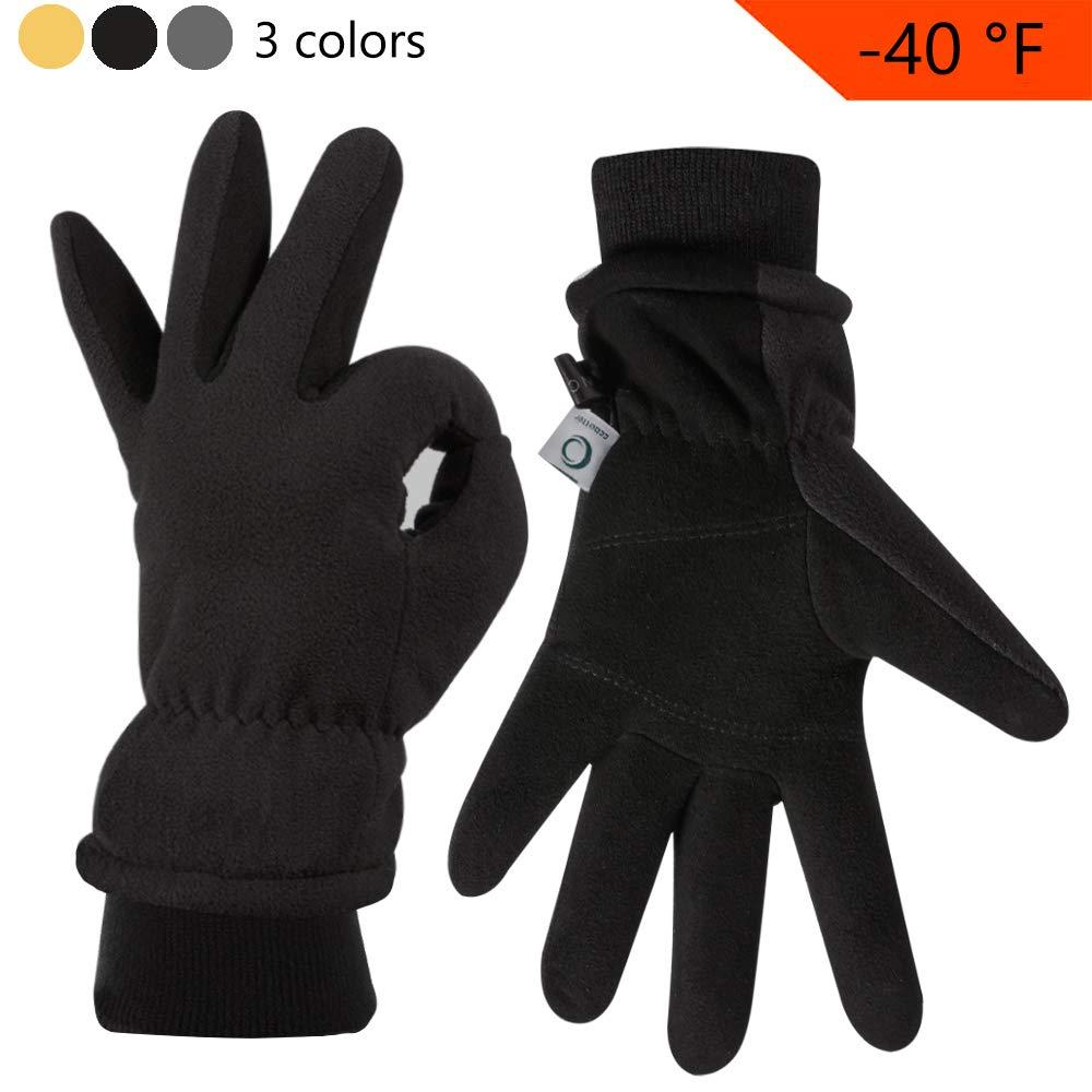 CCBETTER Winter Gloves with Windproof Deerskin Suede Leather Polar Fleece Mittens for Outdoor Activities (M, Black)