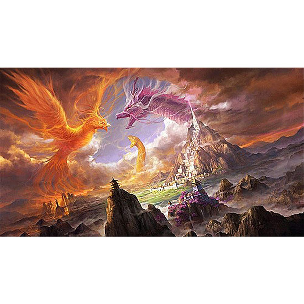 DIY Oil Paint by Number Kit for Adults Beginner 16x20 Inch - Dragon Phoenix and Snake,Drawing with Brushes Christmas Decor Decorations Gifts (Framed) by LRahigh