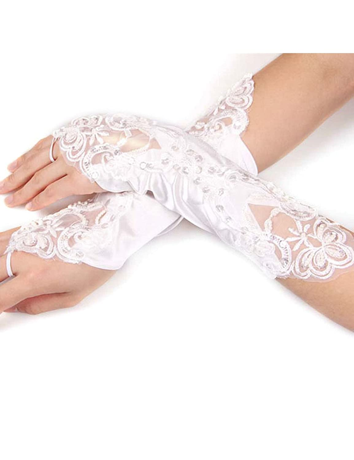 Letuwj Womens Wedding Gloves Sequins Fingerless Accessory with Feak Pearl White One size LTUWWJ0102-1