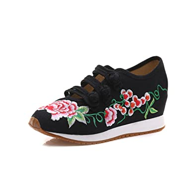 HANMAX Womens Embroidery Flower Lace Up Increased Travel Sneakers Shoes