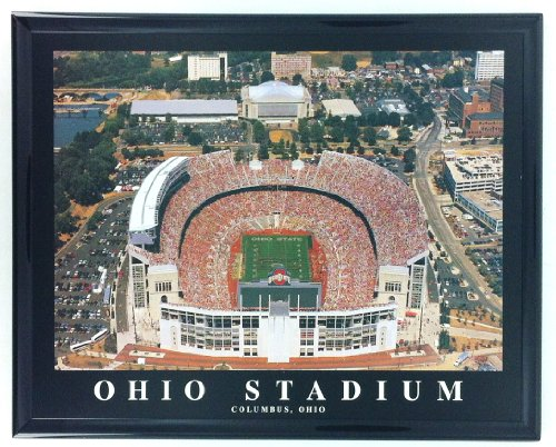 Framed Football Columbus Ohio Aerial Stadium Print Wall Art F7521A