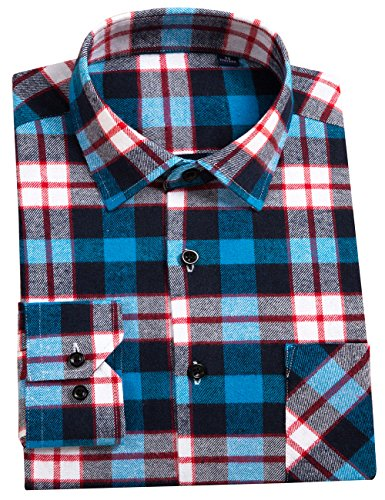DOKKIA Men's Button Down Buffalo Plaid Checked Long Sleeve Flannel Shirts (Blue White, (Wide Collar Poplin Shirt)