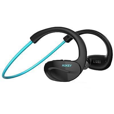 Aukey bluetooth スポーツヘッドセット ワイヤレスイヤホン 耳掛け式 iPhone 6S, 6S Plus,sony, Android スマートフォンなど対応 (ブルー)EP-B13