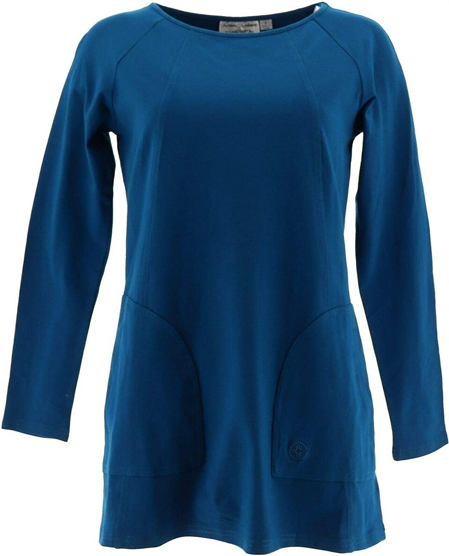 Linea Leisure Louis Dell'Olio Raglan SLV Knit Tee Teal XS New A262037