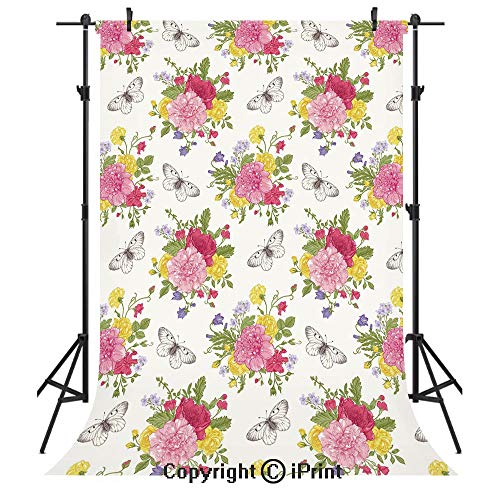 (Shabby Chic Decor Photography Backdrops,Peonies Roses Sweet Peas Bell Colorful Bouquet Butterflies Botany Garden,Birthday Party Seamless Photo Studio Booth Background Banner 3x5ft,Multicolor)