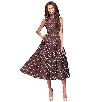 f1145cf260f Janly® Sundress Woman Vintage Swing Long Dress Ladies Dot Printing Hebburn Dress  Plus Size (