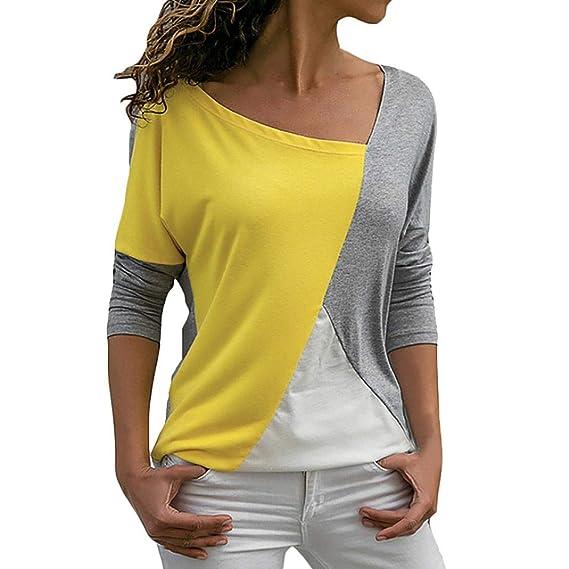 Las Camisas de Las Mujeres de la Moda, Remiendo Ocasional del Color del Bloque del o-Cuello de la Manga Larga de la Camiseta de la Blusa de SunGren: ...