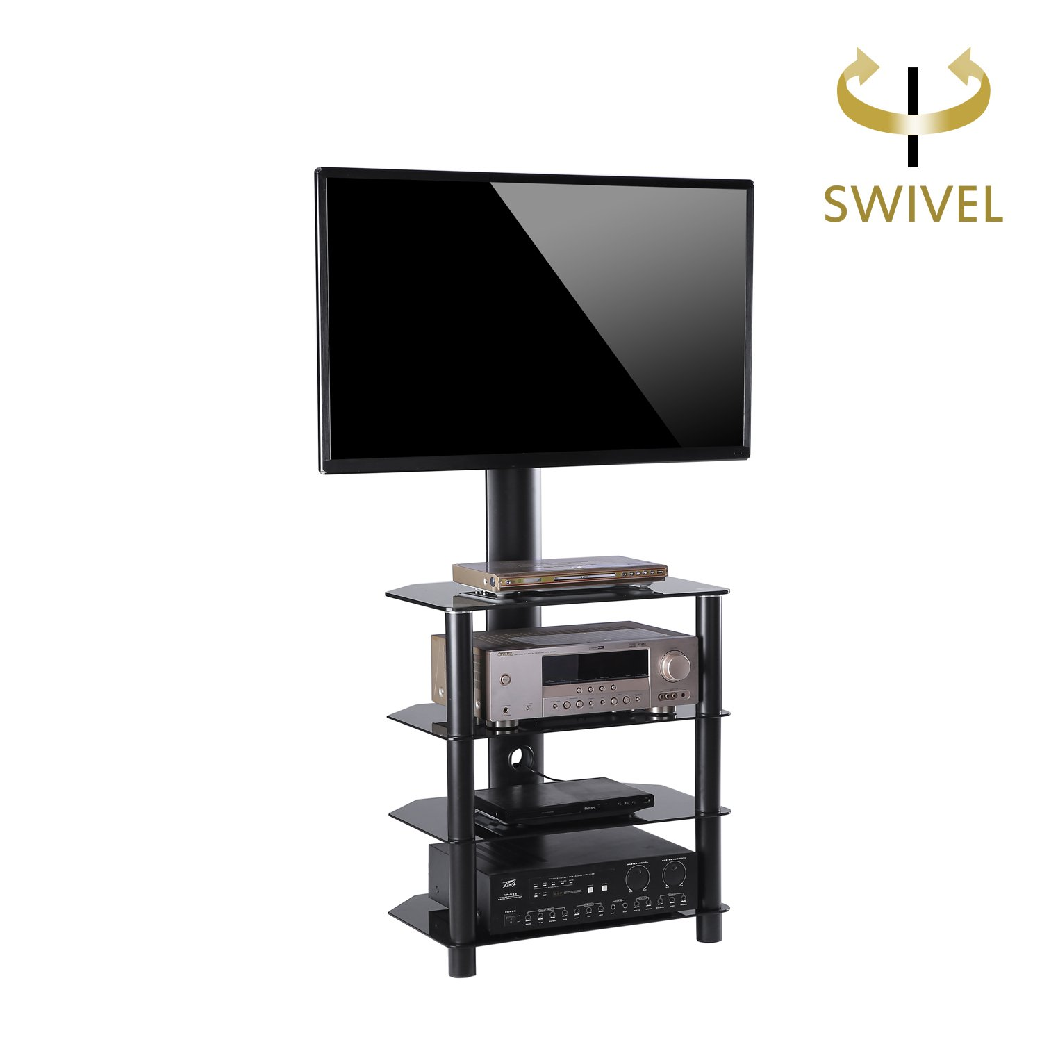 TAVR 4-tiers Media Component TV Stand with Mount Audio Shelf and Height Adjustable Bracket Suit for 32-55 inch LCD, LED Oled TVs or Curved TVs TW1004