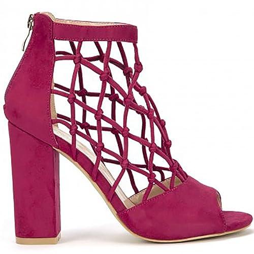 Tobillo es Tacones UK6EURO39AUS7USA8 De Zapatos Enjaulado Tacón y Amazon Zapatos Peep Alta De Bloque Toe Fucsia De Corte Tiras Rosa Sandalias De 7wHqnC