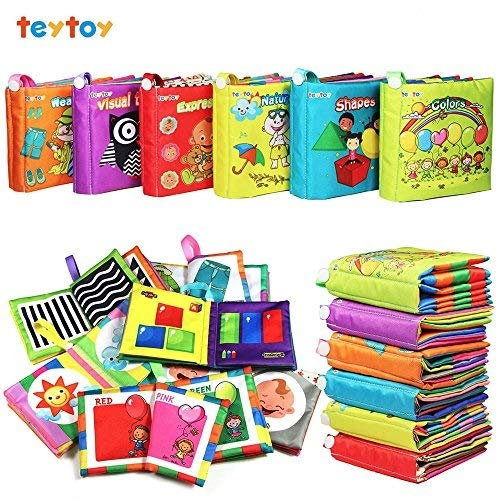 6 PcsソフトFirstベビーブック、teytoy Nontoxicファブリックベビー布帳早期教育Toys Activity Crinkle 1年以上の布帳幼児用(新しいバージョン)   B07BQTV4HX