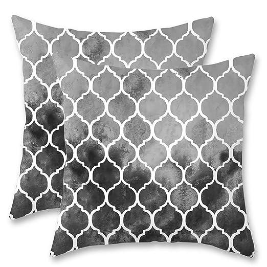 JOTOM Funda de Almohada para Cojín Suave Enrejado Geométrico Decoración para Sofa,Cama,Silla 45 x 45 cm,Juego de 2 (Negro)