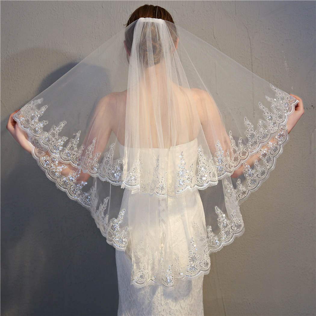 Zoestar Wedding Veil with Comb 2 Tier Sequins Edge White Hair Accessories for Brides