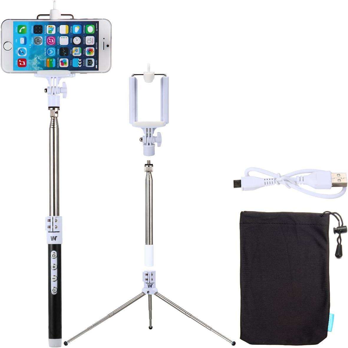 XCSOURCE® Monopod Palo Mango Monopie Bastón Selfie Extensible Control Remoto Bluetooth + Soporte Teléfono + Trípode Grande + Cable USB para iPhone 6 6 Plus 5 5s 4 4s Samsung S3 S4