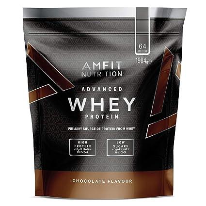 Marca Amazon - Amfit Nutrition Proteína Whey de suero de leche sabor chocolate, 64 porciones