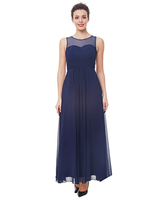 ZAFUL Elegant Mujer Vestido Largo de Fiesta Boda sin Mangas S-2XL (M,