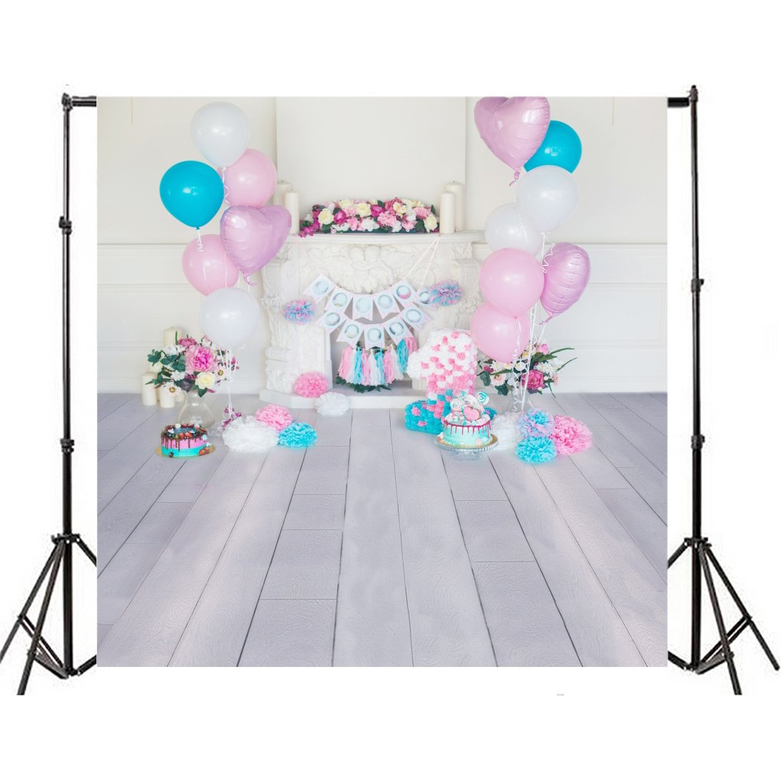 OFILA Girl 1st Birthday Background 5x5ft Paperflowers Party Decoration Cake Smash Props Candles Fireplace Balloons Plank Floordrop Baby Portraits Family