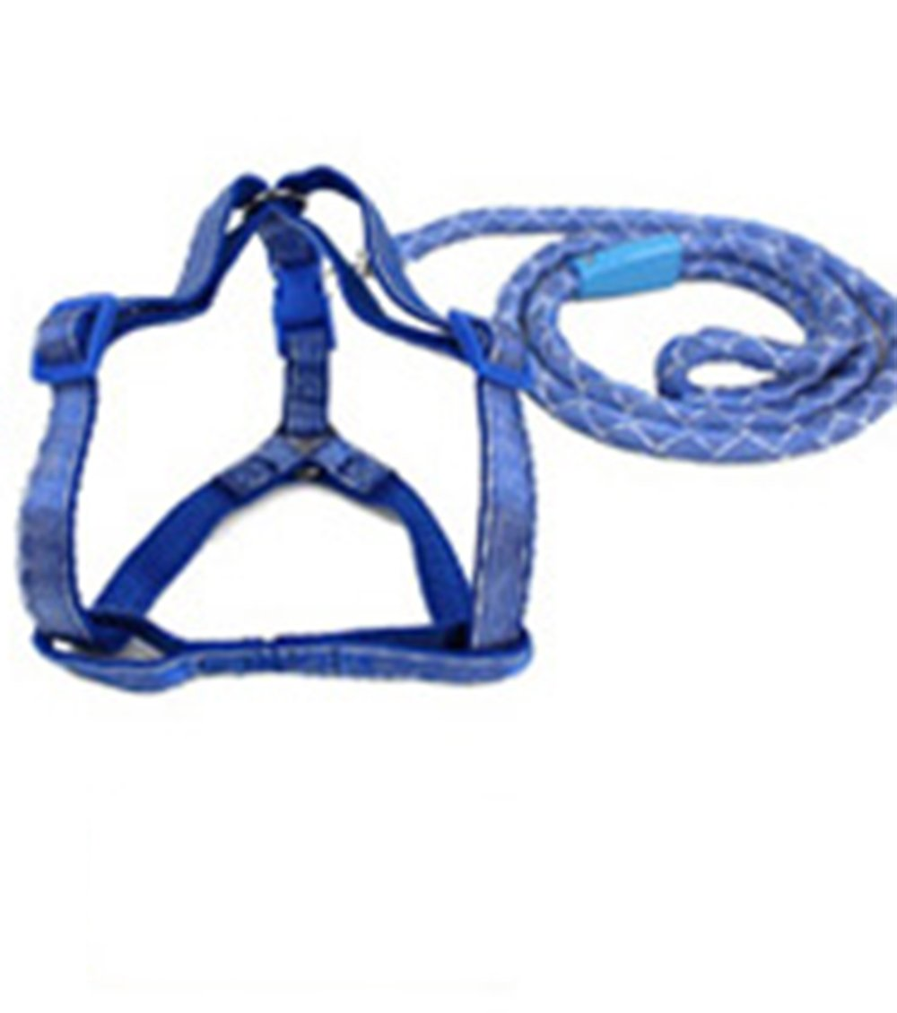 Bungee Double-Dog Connector Lead, Twine Dog Straps and Shunt Walking Small Medium and Large Dogs (Dark bluee)