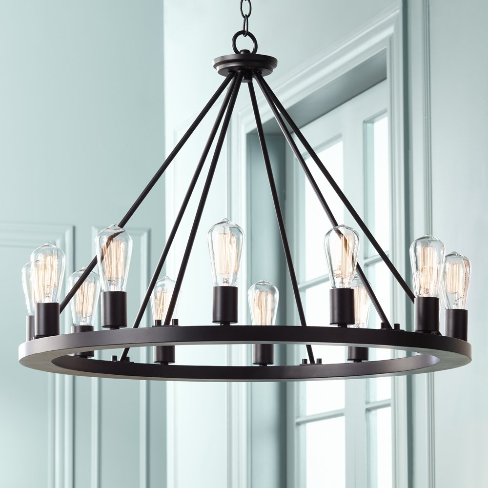 Lacey 28 Wide Round Black LED Chandelier Amazoncom