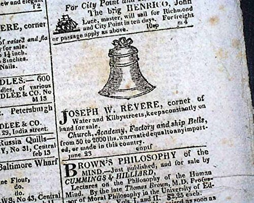 Newspaper Advertiser Daily (Joseph Warren REVERE COPPER COMPANY Bell Foundry Advertisement 1822 MA Newspaper BOSTON DAILY ADVERTISER, March 16, 1822 The front page includes a ...)