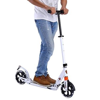 Plegable Scooter de Ciudad con Doble Sistema de Amortiguación Patinete con Ruedas de Suspensión 200mm y Freno