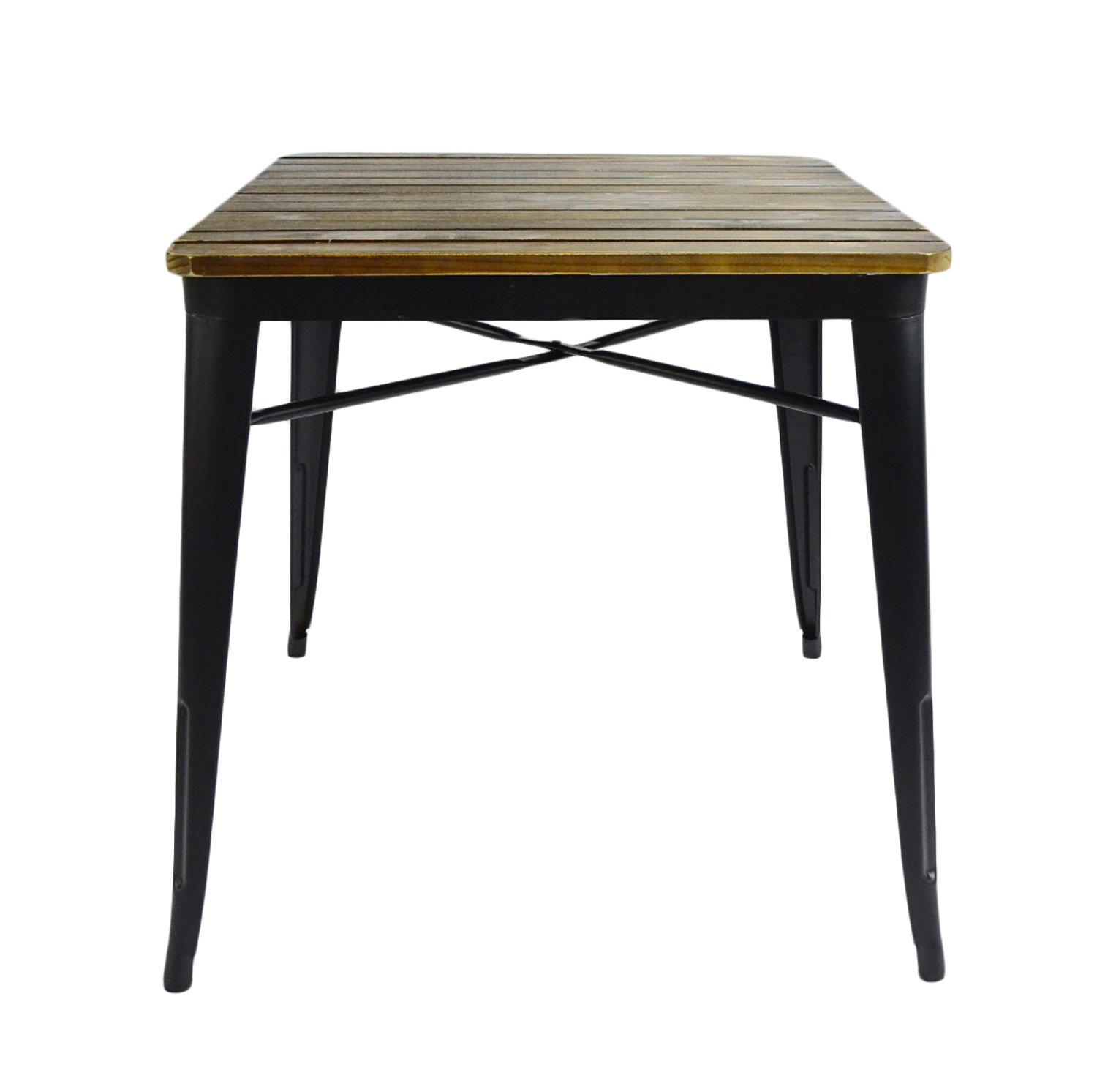 VILAVITA Square Pine Wood Dining Table, Wooden Dining Furniture, 27.56 by 27.56-inch, Retro Finish - 27.56*27.56 inch wood top and 29.53 inch height square dining table Casual table with pine wood top and wrought iron frame offers reliable stability Vintage industrial style, simple but stylish leisure coffee table - kitchen-dining-room-furniture, kitchen-dining-room, kitchen-dining-room-tables - 611d5k%2BivoL -