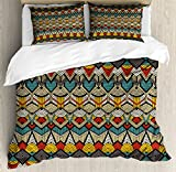 African Duvet Cover Set Queen Size by Ambesonne, Tribal Chevron Zigzags and Half Circles Folkloric Elements Sharp Canonical Motifs, Decorative 3 Piece Bedding Set with 2 Pillow Shams, Multicolor