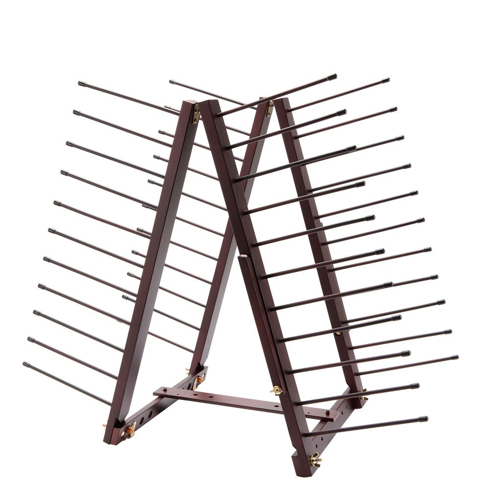 Creative Mark Rue Art Drying Rack, Perfect For Artist Canvas Panels, Paper, Prints, Ladder Style Storage Rack- Mahogany Finish Rue Easel