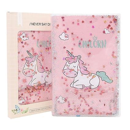 Cuaderno de unicornio creativo, tamaño A5, con lentejuelas ...