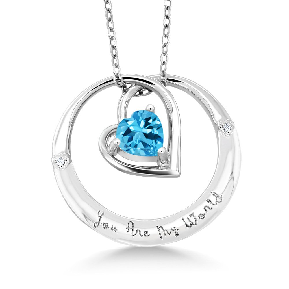 Gem Stone King 925 Sterling Silver inchesYou Are My Worldinches Topaz Diamond Accent Pendant