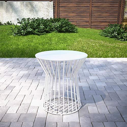 Novogratz 88068WHT1E Poolside Roberta Outdoor Side Table, White