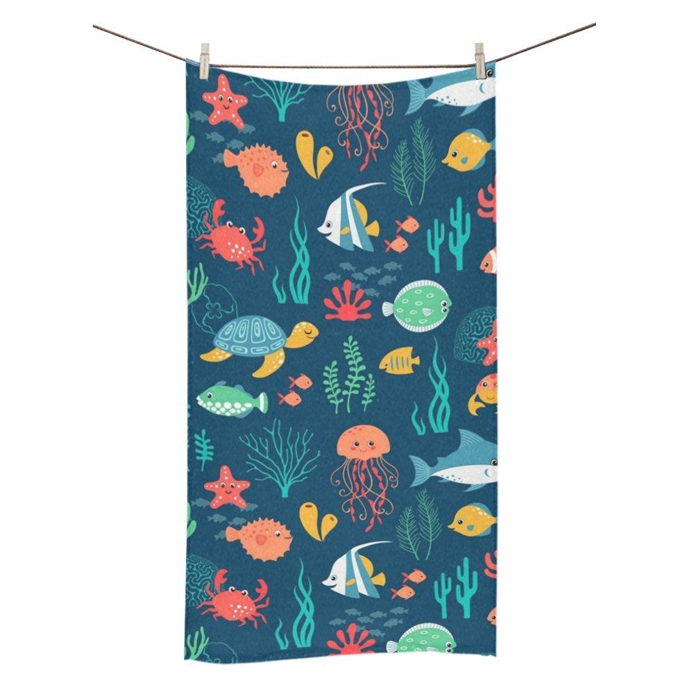 Amor naturaleza personalizado Cartoon océano peces baño cuerpo ducha toalla de baño Wrap para el hogar al aire libre Viajes uso playa toallas de baño de 30 ...