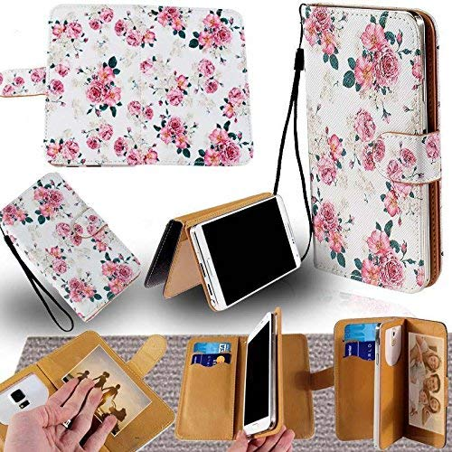 Universal PU Leather Strap Case/Purse/Clutch Fits Apple Samsung LG etc. Pink Rose/Floral Vintage -Medium. Magic Sticker Attaches Phone to Wallet. Strong Adhesive/Easy Remove. Fits Models Below: ()