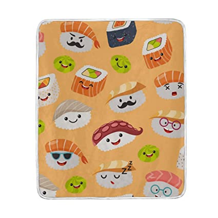 Amazon U LIFE Cute Emoji Japanese Sushi Soft Fleece Throw Custom Cute Fleece Throw Blankets