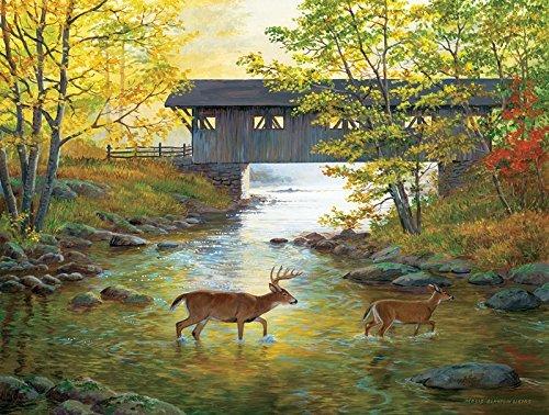 SunsOut Rock Creek Crossing 500 pc Jigsaw Puzzle (500 Piece Deer Puzzle)