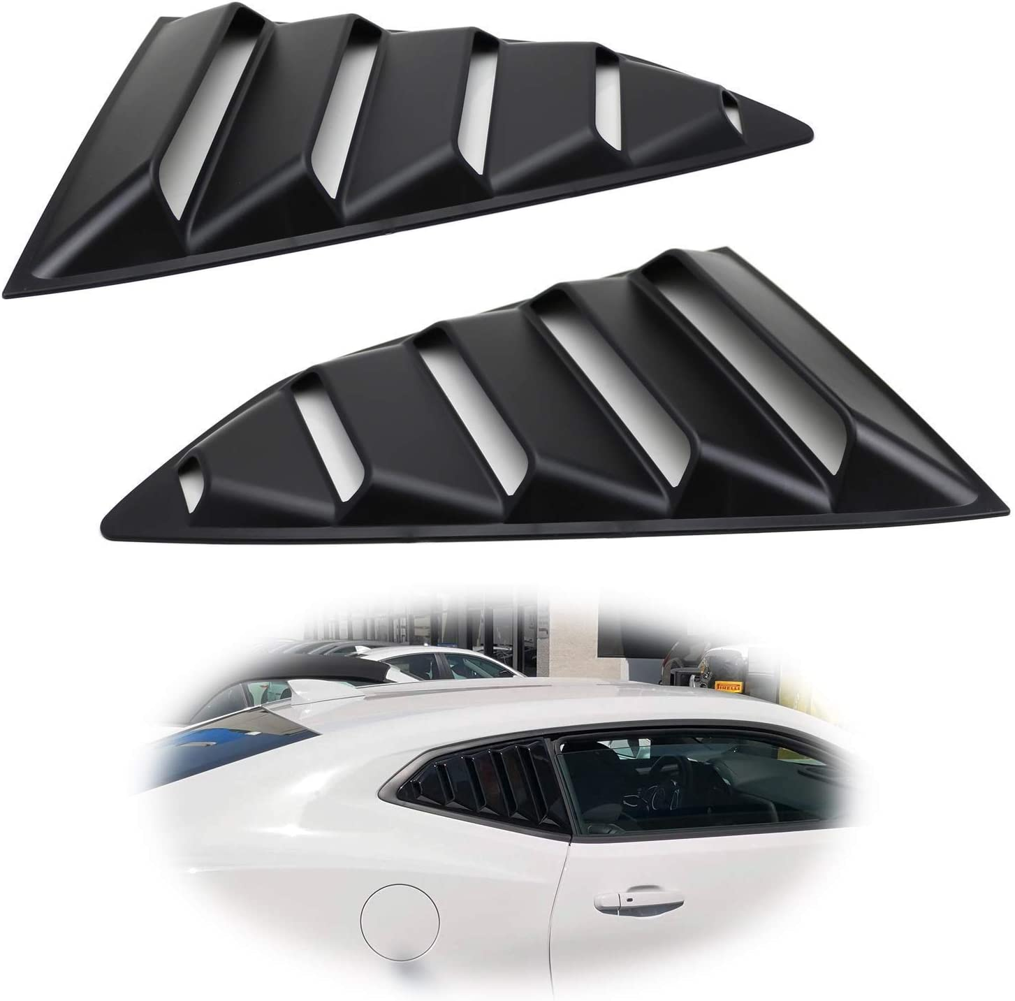 WARMAGIA Left//Right Black Finish Racing Style Rear Side Window Scoop Air Vent//Louver Shades Compatible with 2016-up Honda Civic Sedan for 10th Gen Civic