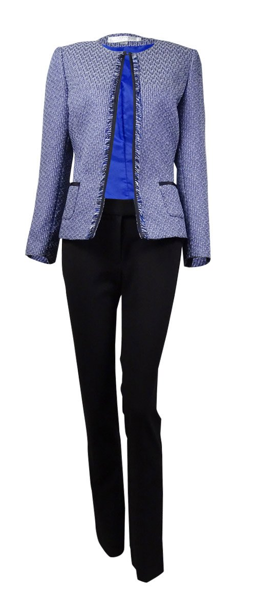 Tahari ASL Women's Frayed Tweed Two Piece Pant Suit Set Royal Black 2