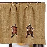 VHC Brands 17999 Stratton Burlap Applique Star Valance 16x60