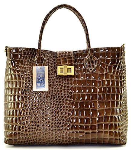 En Bag Taupe My Giverny Soldes À Sac Croco Cuir Façon Main Oh Fonce wZXAq5A
