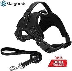 Stargoods Arnés para Perro Ergonómico con Correa Ajustable Reflejante para la Oscuridad - Máxima protección y Comodidad para tu Mascota en Todo Momento - Grande