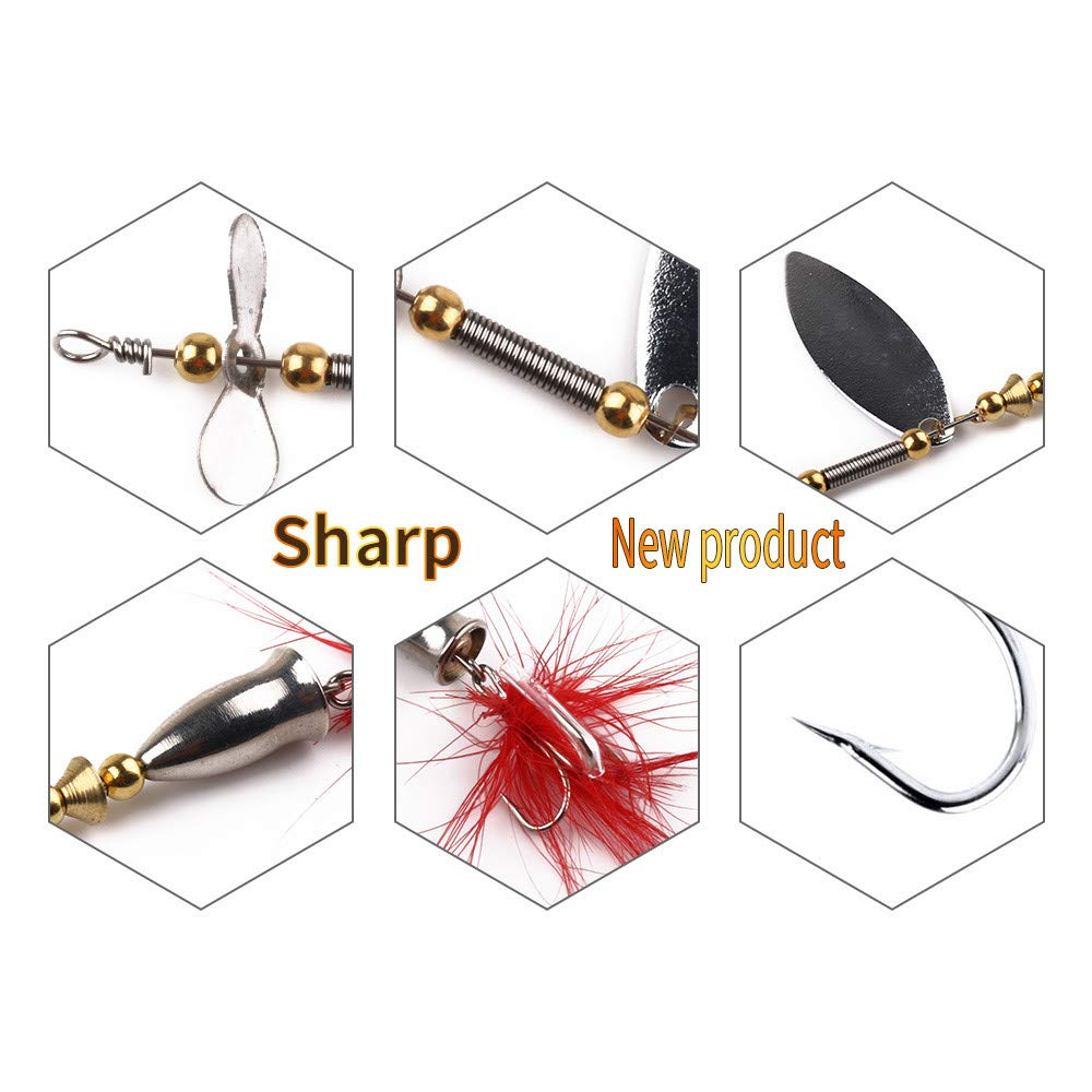 Feather Fishhook Bass Trout Salmon Hard Metal Spinnerbaits Kit Assorted Inline Spinner Baits /& Spoons Saltwater//Freshwater String Hook charmsamx Fishing Lures Baits Tackle