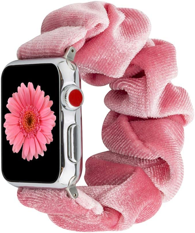 Scrunchie Elastic Band Compatible for Apple Watch Band 38mm 40mm 42mm 44mm, women Cloth Cow Print Replacement Wristband for IWatch Series 6 5 3 4 2 1, 38mm 40mm Pink