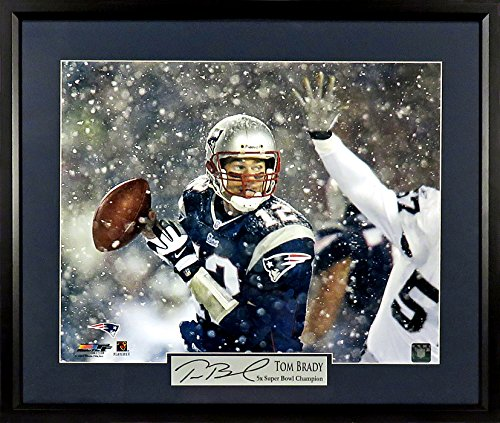 "Tom Brady New England Patriots ""Snow Game"" 11x14 Photograph (SGA Signature Engraved Plate Series) Framed"