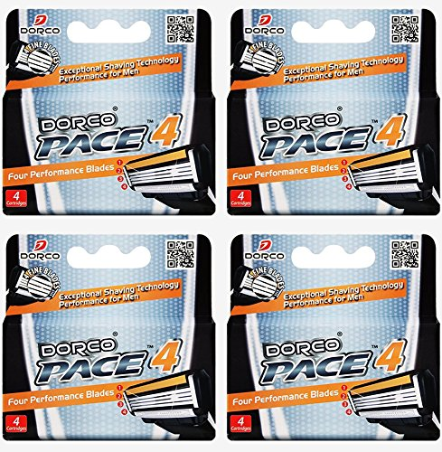Price comparison product image Dorco Pace 4- Four Blade Razor Shaving System- Value Pack - 16 Cartridges (No Handle)