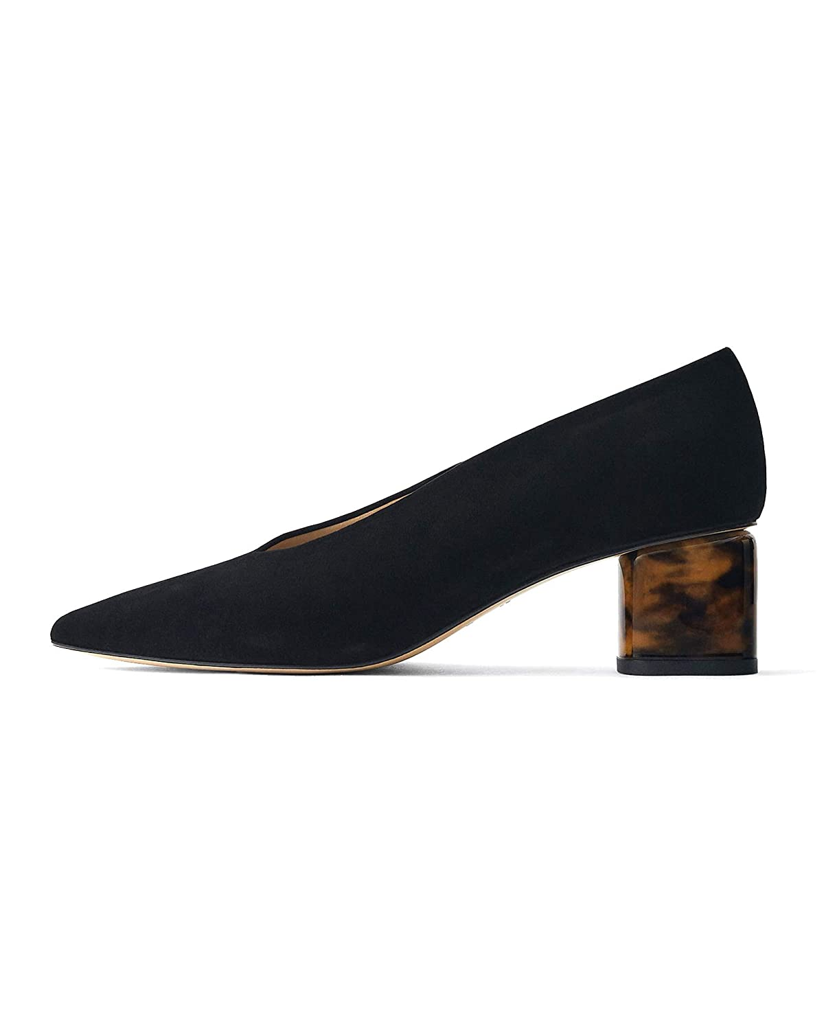 d28fbb950717a Amazon.com: Uterque Women Suede Court Shoes with Tortoiseshell Heels ...