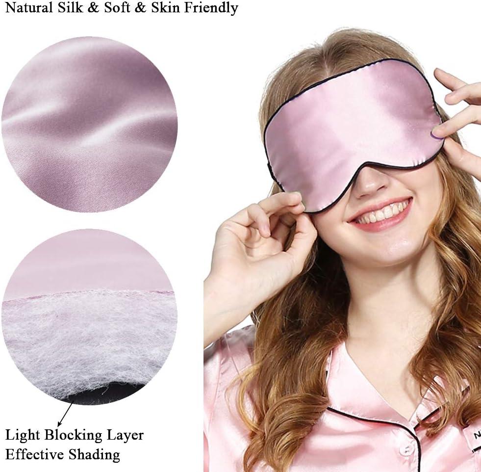 Masque de sommeil en soie 3PCS noir+rose+lavande masque de voyage pour les yeux avec bouchon doreille gratuit et sangle ajustable pour les hommes et les femmes Couvre-yeux