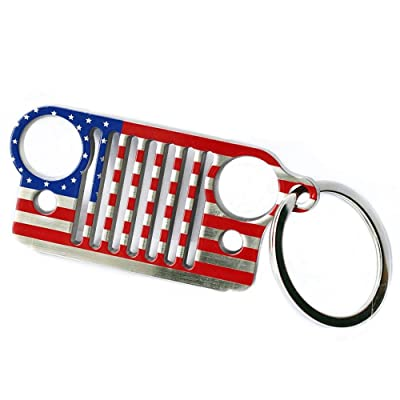 Jeep Grill Key Chain for Jeep Wrangler CJ,304 Stainless Steel (US Flag): Automotive